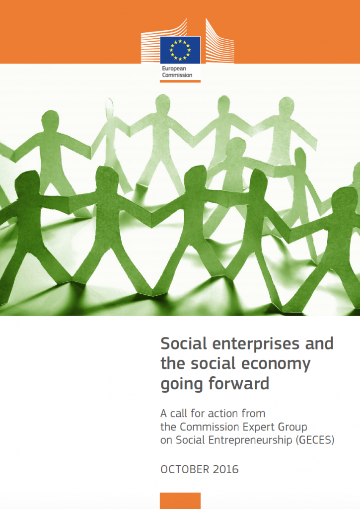 "Portada del document ""Social Enterprises and the social economy going forward – A call for action from the commission Expert Group on Social Entrepreneurship (GECES)"""