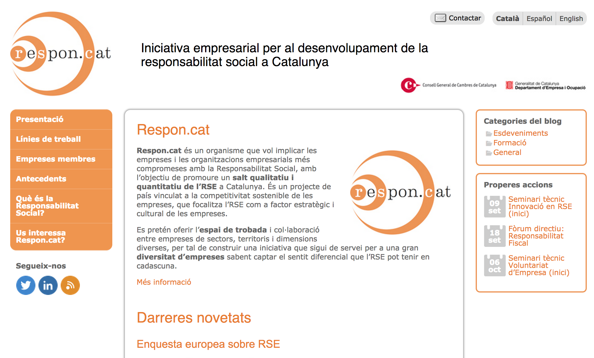 Captura pàgina principal web Respon.cat