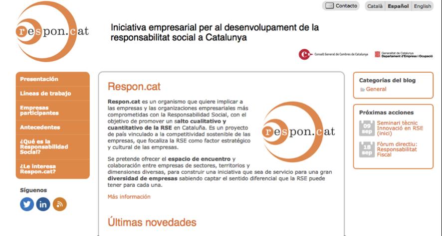 Captura página principal web respon.cat