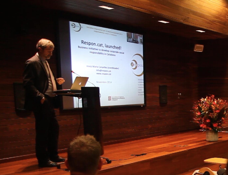 Josep Maria Canyelles presentant Respon.cat davant empreses i emprenedors holandesos a Catalunya