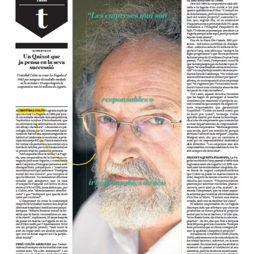 Entrevista a Cristóbal Colón (La Fageda) al diari ARA