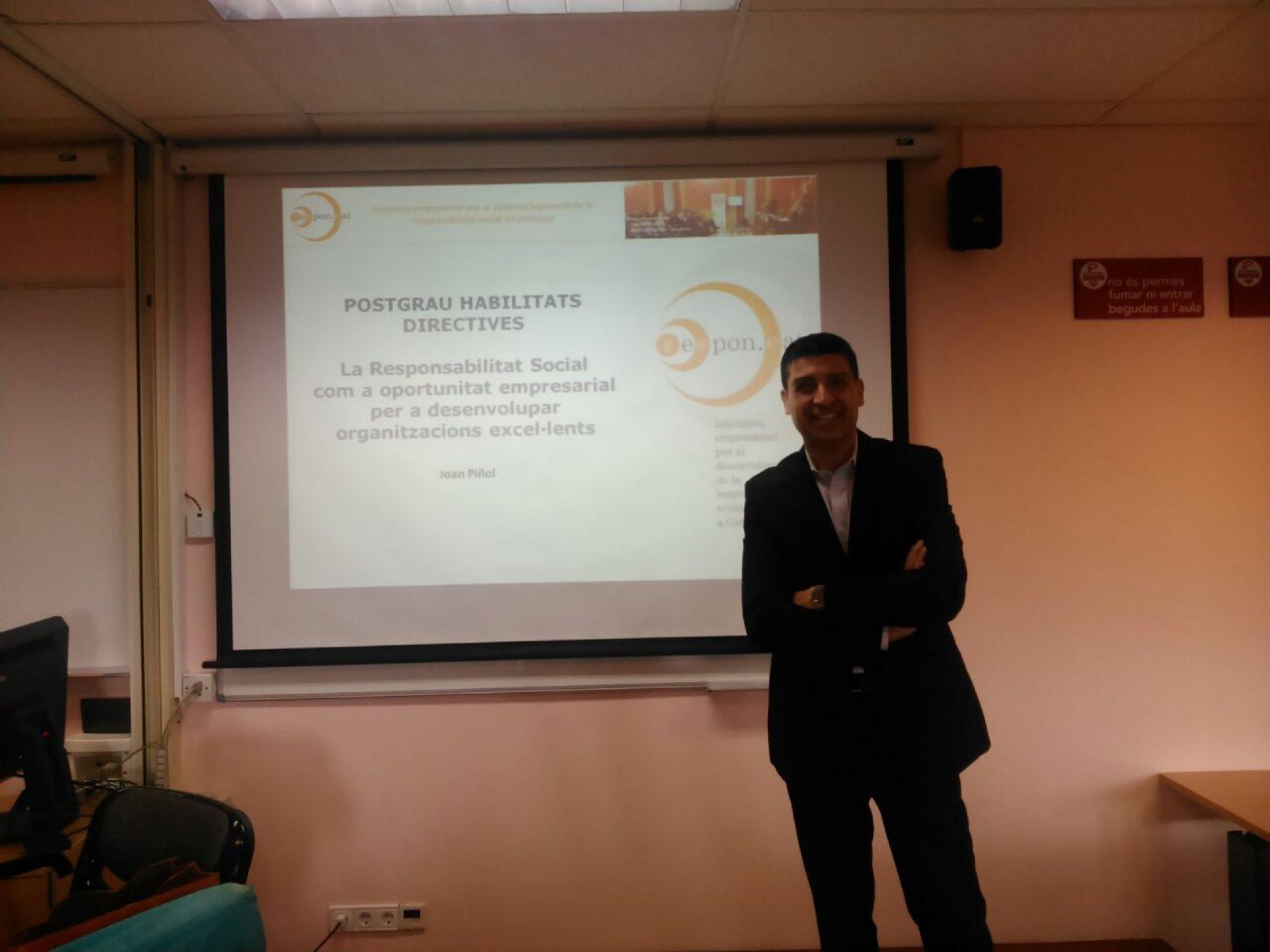 Joan Piñol parla sobre RSE al postgrau d'Habilitats directives de l'Euncet