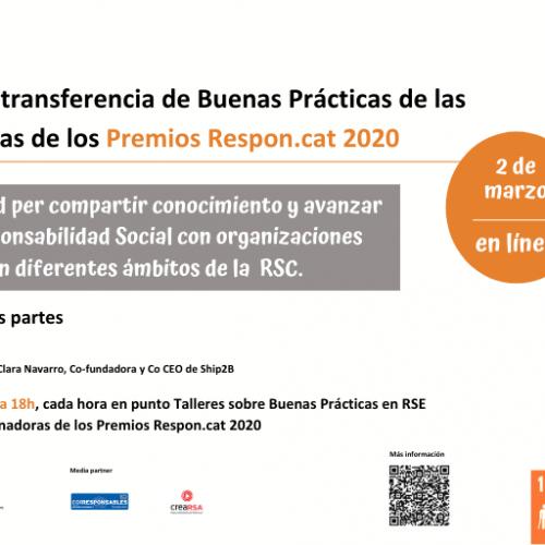 Jornada virtual de Transferencia de Buenas Prácticas de las empresas ganadoras de los Premios Respon.cat 2020