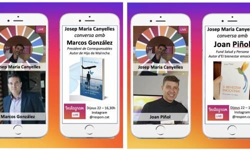 Aquesta tarda a #ConversesResponsables a Instagram live parlem amb Marcos González i Joan Piñol sobre els seus nous llibres